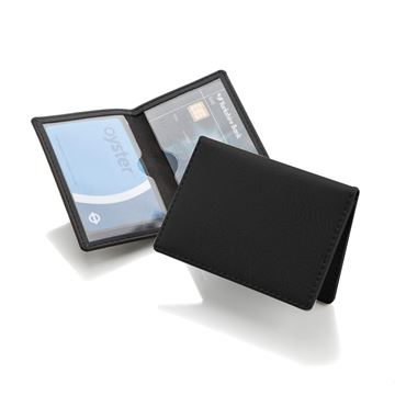 Picture of Black Credit or Travel Card Case in Belluno vegan leather look PU.