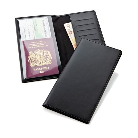 Picture of Black Belluno Travel Wallet with one clear pocket and one material pocket with card slots.