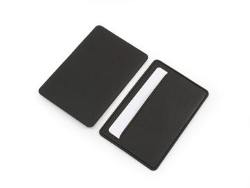 Picture of Black Credit Card Case in BioD a Biodegradable leather look material.