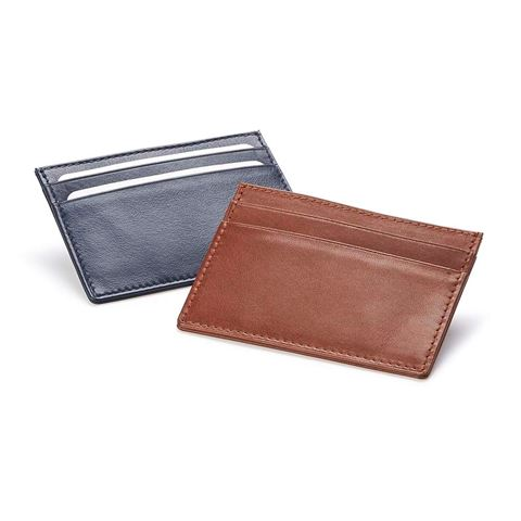 Picture of  Accent Sandringham Nappa Leather Deluxe Slim Card Case, with accent stitching in a  choice of black, navy or brown.