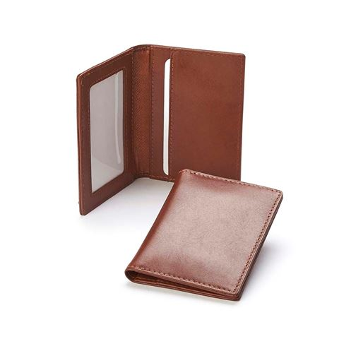 Picture of  Accent Sandringham Nappa Leather Luxury Leather Card Case with Window Pocket, with accent stitching in a  choice of black, navy or brown.