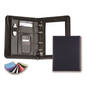 Picture of A5 Deluxe Zipped Ring Binder with Calculator in Belluno, a vegan coloured leatherette with a subtle grain.