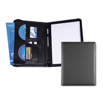 Picture of A4 Deluxe Zipped Conference Folder in Soft Touch Vegan Torino PU.