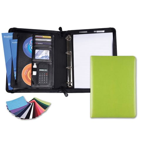 Picture of Deluxe Zipped Ring Binder with Calculator in Belluno, a vegan coloured leatherette with a subtle grain.