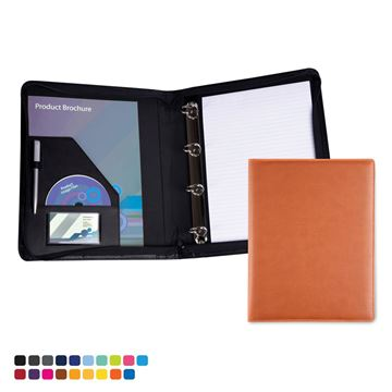 Picture of Zipped A4 Ring Binder in Soft Touch Vegan Torino PU.