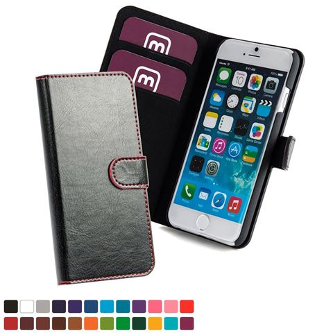 Picture of Phone Wallet with Magnetic Strap in Belluno, a vegan coloured leatherette with a subtle grain.