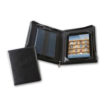 Picture of Black Belluno Deluxe Zipped iPad Case with Notebook Holder