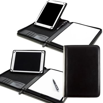 Picture of Sandringham Nappa Leather A4 Zipped Adjustable Tablet Holder with a Multi Position Tablet Stand