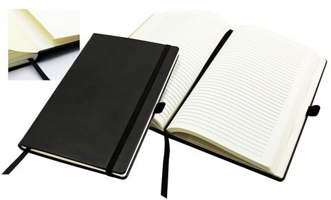 Picture of A5 Casebound Notebook with a Black Elastic Strap and Pen Loop