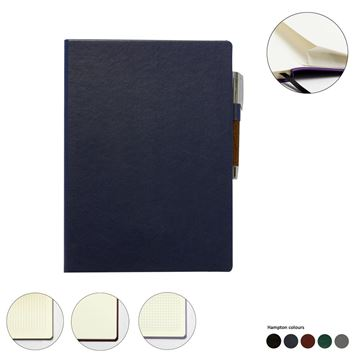 Picture of Hampton Leather A4 Casebound Notebook, made in the UK in a choice of 6 colours.