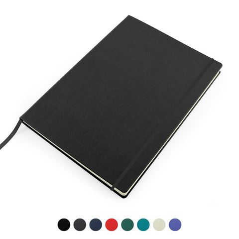 Picture of Recycled ELeather A4 Casebound Notebook with Elastic Strap, made in the UK in a choice of 8 colours.