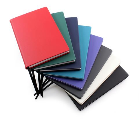 Picture of Recycled ELeather A5 Casebound Notebook, made in the UK in a choice of 8 colours.