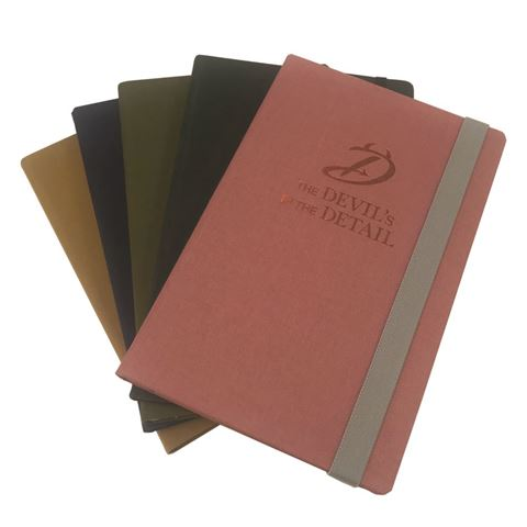 Picture of Brillianta Linen A5 Casebound Notebook with Elastic Strap in a Spectrum of colours
