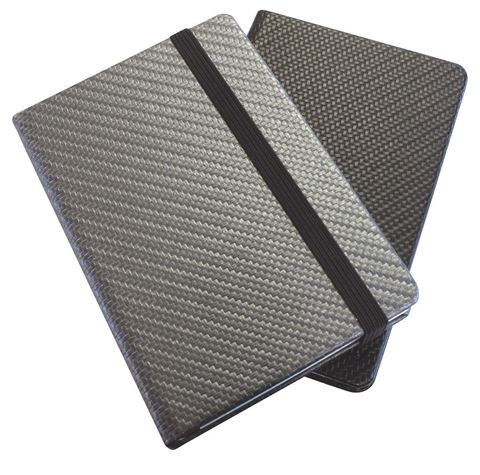 Picture of Carbon Fibre Textured A5 Casebound Notebook with Elastic Strap