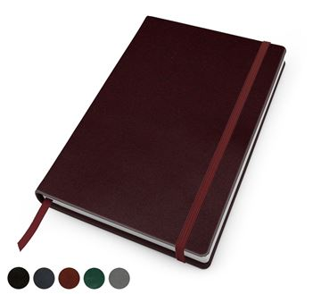 Picture of Hampton Leather A5 Casebound Notebook with Elastic Strap, made in the UK in a choice of 6 colours.