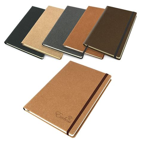 Picture of Beige Palma Natural Recycled Leather  A5 Casebound Notebook with Elastic Strap in 5 colours