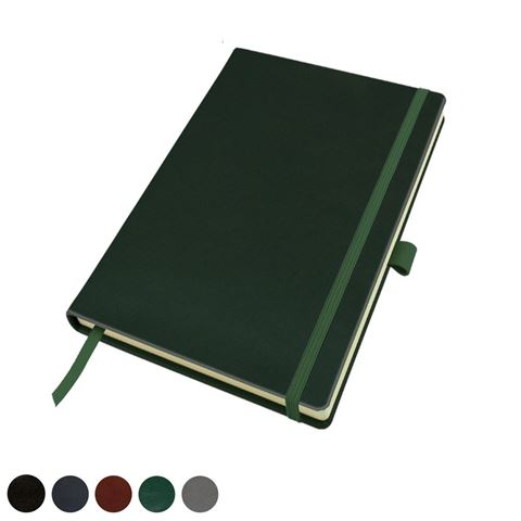 Picture of Hampton Leather A5 Casebound Notebook with Elastic Strap & Pen Loop, made in the UK in a choice of 6 colours.