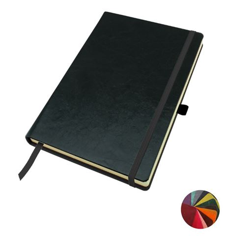 Picture of Kensington Distressed Leather A5 Casebound Notebook with Elastic Strap & Pen Loop