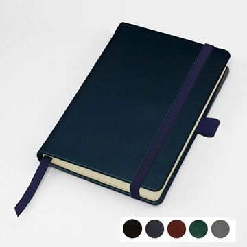 Picture of Hampton Leather Pocket Casebound Notebook with Elastic Strap & Pen Loop, made in the UK in a choice of 6 colours.