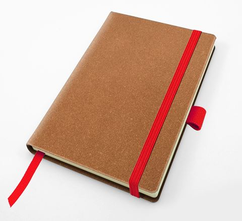 Picture of Palma Natural Recycled Leather  Pocket Casebound Notebook with Elastic Strap & Pen Loop in a choice of 5 colours