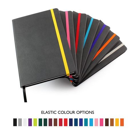 Picture of Anthracite Torino Nimbus A5 Casebound Notebook with Elastic Strap