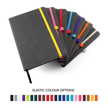 Picture of Anthracite Torino Nimbus A5 Casebound Notebook with Elastic Strap, Pen Loop & Envelope Pocket