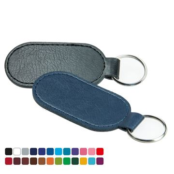 Picture of Economy Oval Key Fob, in Belluno, a vegan coloured leatherette with a subtle grain.