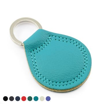 Picture of Recycled ELeather Teardrop Key Fob in a choice of 8 Colours, made in the UK in a choice of 8 colours.