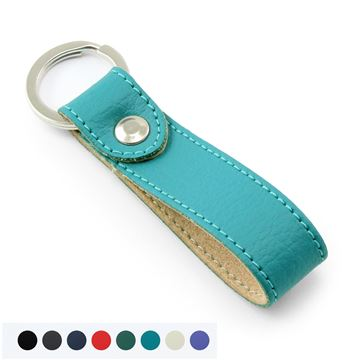 Picture of Recycled ELeather Rectangular Key Fob, made in the UK in a choice of 8 colours.
