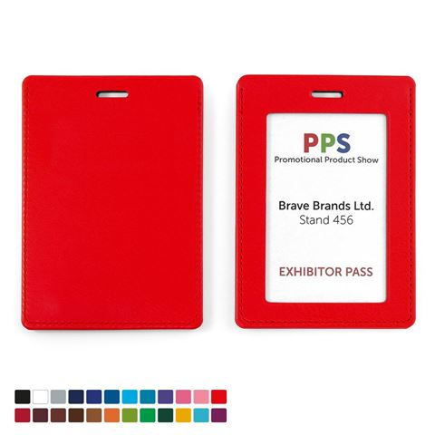 Picture of Portrait ID Card Holder for a Lanyard or Clip in Belluno, a vegan coloured leatherette with a subtle grain.