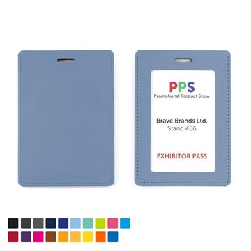 Picture of Portrait ID Card Holder for a Lanyard or Clip in a choice of 20 colours in vegan matt velvet Torino.