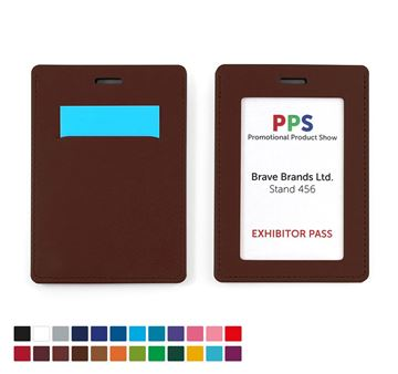 Picture of Portrait ID Card Holder, with a Card slot to the rear. in Belluno, a vegan coloured leatherette with a subtle grain.