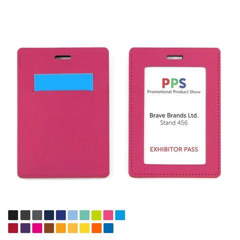 Picture of Portrait ID Card Holder in a choice of 20 colours in vegan matt velvet Torino.