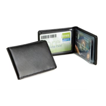 Picture of Credit Card Case for 6-8 Cards, in black leather look vegan Belluno.