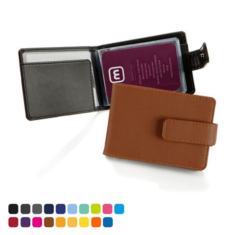 Picture of Torino matt velvet vegan PU Deluxe Credit Card Case for 6-8 Cards with a Strap.