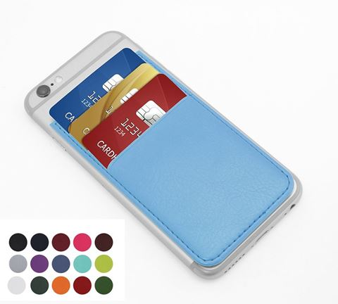 Picture of Card Case for a Smart Phone with Three Card Slots in Belluno, a vegan coloured leatherette with a subtle grain.
