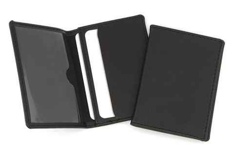Picture of Hampton Leather Oyster Travel Card Case, One Clear One Solid Pocket