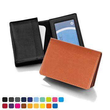 Picture of Deluxe Business Card Dispenser with Framed Window Pocket, choose from of 19 contemporary colours, in Soft Touch Vegan Torino PU.