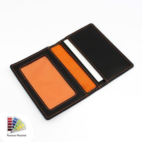 Picture of Sandringham Nappa Leather Luxury Leather Card Case with Window Pocket. made to order in any Pantone Colour