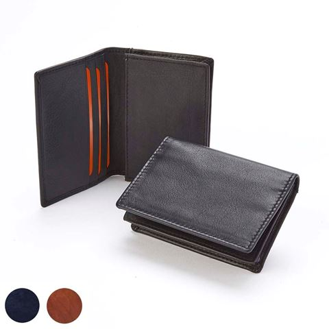 Picture of  Accent Sandringham Nappa Leather Business Card Holder, with accent stitching in a  choice of black, navy or brown.