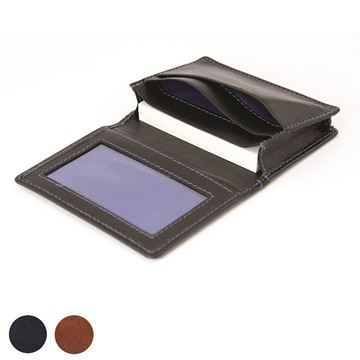Picture of  Accent Sandringham Nappa Leather Business Card Holder with Travel or Oyster Card Window, with accent stitching in a  choice of black, navy or brown.