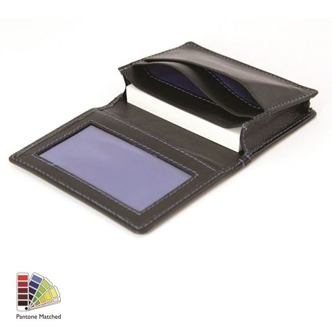 Picture of Sandringham Nappa Leather Business Card Holder with Travel or Oyster Card Window made to order in any Pantone Colour
