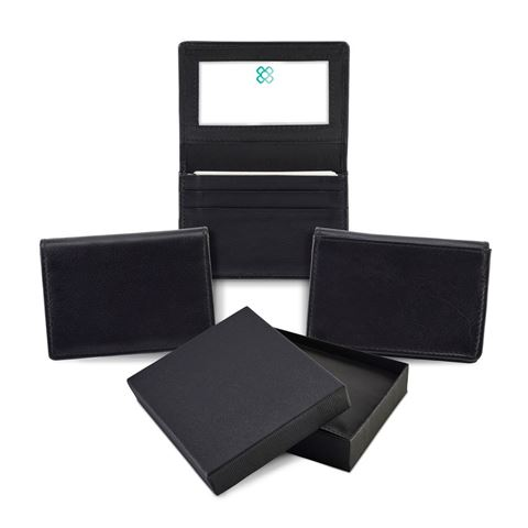 Picture of Sandringham Nappa Leather Business Card Holder with Travel or Oyster Card Window
