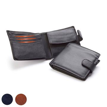 Picture of  Accent Sandringham Nappa Leather Deluxe Billfold Wallet, with accent stitching in a  choice of black, navy or brown.