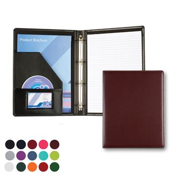 Picture of A4 Slim Ring Binder in Belluno, a vegan coloured leatherette with a subtle grain.