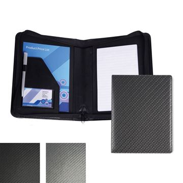 Picture of Carbon Fibre Textured PU A5 Zipped Conference Folder.