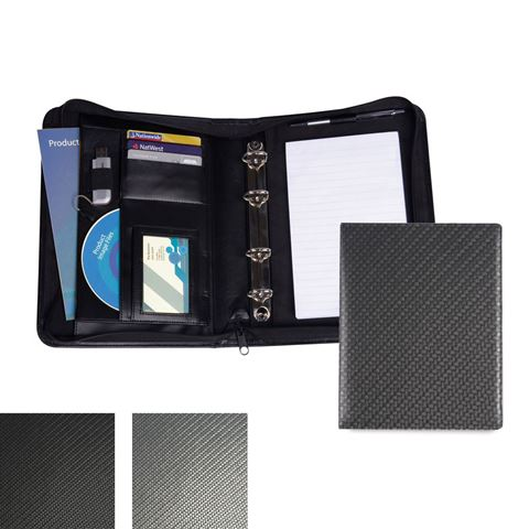 Picture of Carbon Fibre Textured PU A5 Deluxe Zipped Ring Binder.
