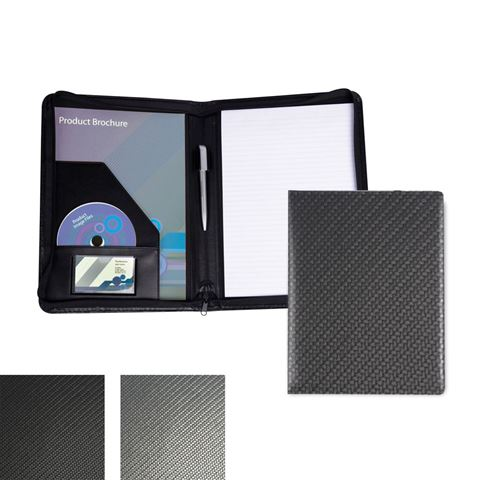 Picture of Carbon Fibre Textured PU  A4 Zipped Conference Folder.
