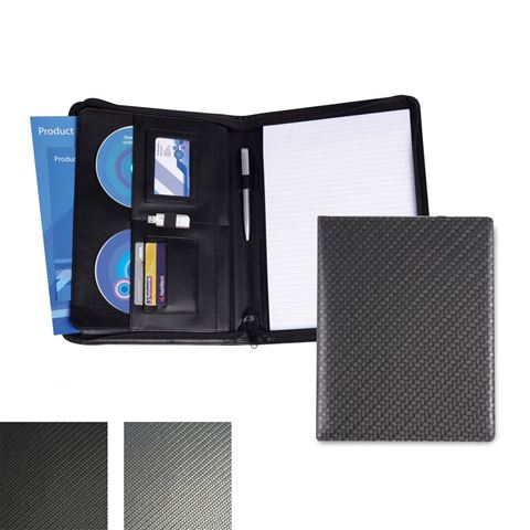 Picture of Carbon Fibre Textured PU A4 Deluxe Zipped Conference Folder.