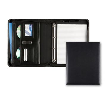 Picture of Black Belluno PU A4 Deluxe Zipped Ring Binder